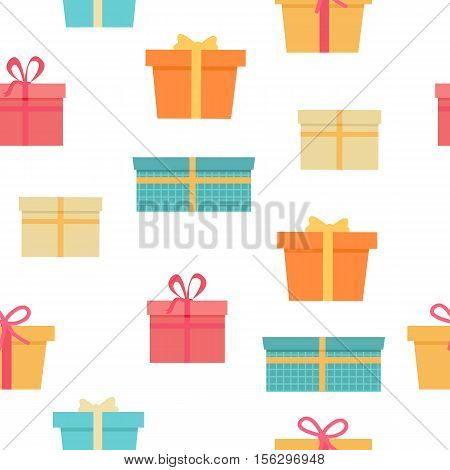 Seamless pattern with colorful gift boxes with fashionable ribbons and bows isolated. Present. Decorative stylish wrap for presents package. Modern packing product. Gifts web icon sign symbol. Vector