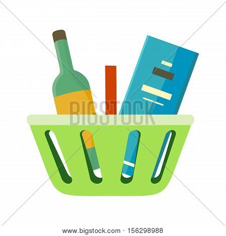 Shopping basket with goods vector in flat style. Green plastic basket with bottle of wine and box. Accessories for trade, selling alcohol illustration for shopping services, app icons, logo design.