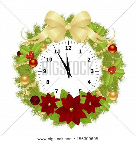 Adorned Clock With Branches of Christmas Tree, Balls and Hollyberries Showing the Christmas Time Isolated on White Background. Vector Illustration