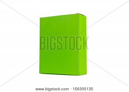 Green Box Or Green Paper Package Box Isolated On White