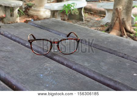 glasses beautiful  on wooden table background  .