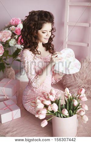 Beautiful Brunette Teen Girl Portrait Open Present, Romantic Surprise. Pretty Woman In Pink Dress Ov