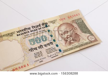India Cancelled Banknote. India Rupee 500 Banknote Declared Illegal. 500 Rupee Note Banned. Cancelle