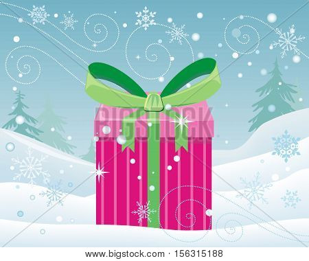 Christmas pink gift box with green bow on snowy landscape background. Cartoon present in xmas holiday concept. Gift box surprise new year. Funny illustration for children in flat style. Vector