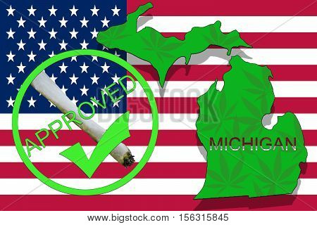 Michigan State On Cannabis Background. Drug Policy. Legalization Of Marijuana On Usa Flag,