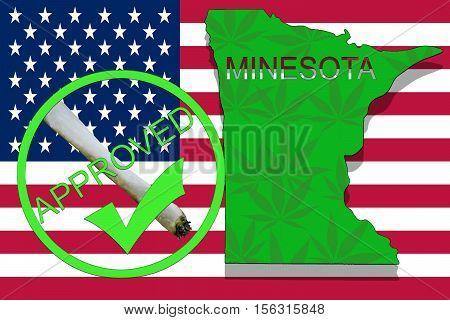 Minesota State On Cannabis Background. Drug Policy. Legalization Of Marijuana On Usa Flag,