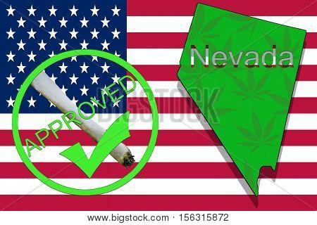 Nevada State On Cannabis Background. Drug Policy. Legalization Of Marijuana On Usa Flag,