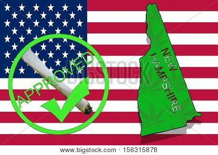 New Hamphsire State On Cannabis Background. Drug Policy. Legalization Of Marijuana On Usa Flag,