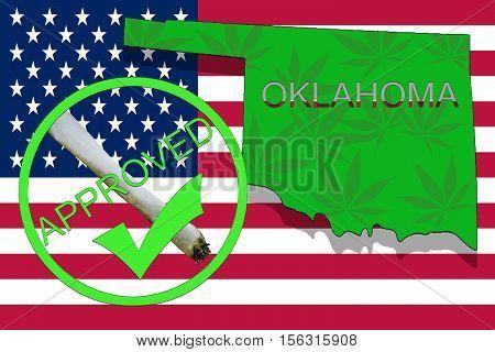 Oklahoma State On Cannabis Background. Drug Policy. Legalization Of Marijuana On Usa Flag,