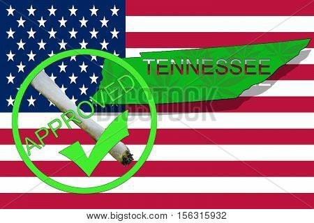Tennessee State On Cannabis Background. Drug Policy. Legalization Of Marijuana On Usa Flag,
