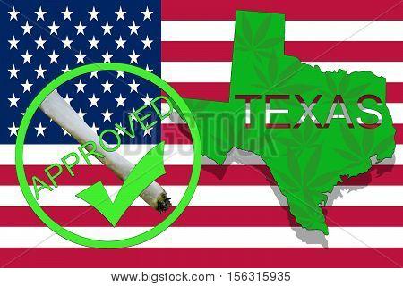 Texas  State On Cannabis Background. Drug Policy. Legalization Of Marijuana On Usa Flag,