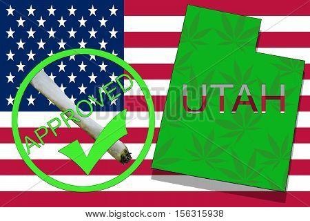 Utah  State On Cannabis Background. Drug Policy. Legalization Of Marijuana On Usa Flag,