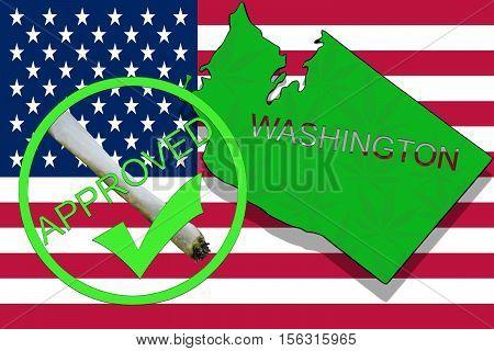 Washington  State On Cannabis Background. Drug Policy. Legalization Of Marijuana On Usa Flag,