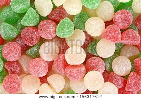 closeup of christmas candy gum drops background