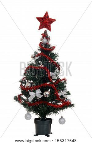 isolated silver and red christmas tree on white