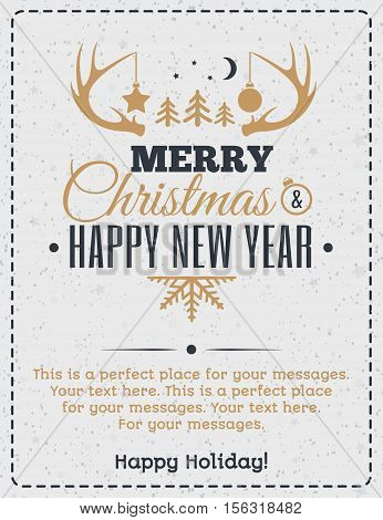 Christmas greeting card gold color style with vintage christmas label consisting of horn toys and wish Merry Christmas Happy New Year Happy Holiday on holiday background. Christmas decoration element