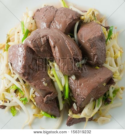 Chinese Traditional Food Dish of Stir Fried Bean Sprout with Congealed Pork Blood Pork Blood Pudding or Pig Blood Curd.