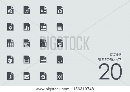 file formats vector set of modern simple icons