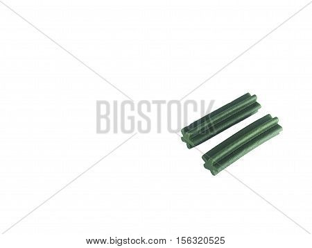 Green Dog treats isolated on white background. flavour mint use for scrub teeth dog