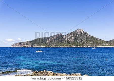 Partial view of the island Dragonera in Majorca Balearic Islands Spain