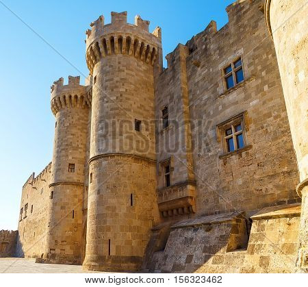 Palace of the Grand Master of the Knights of Rhodes, a medieval castle of the Hospitaller Knights on the island of Rhodes, Greece.