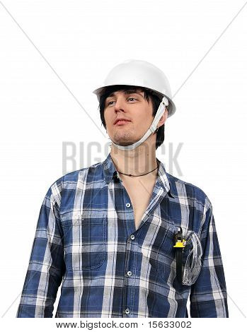 Young Worker Isolated With Wire-cutters In Pocket