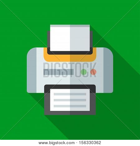 Colorful printer icon in modern flat style with long shadow. Vector illustration