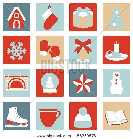 Stock vector set of winter and Christmas icons
