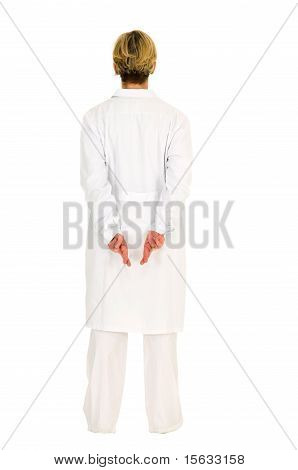 superstitious woman doctor in white background