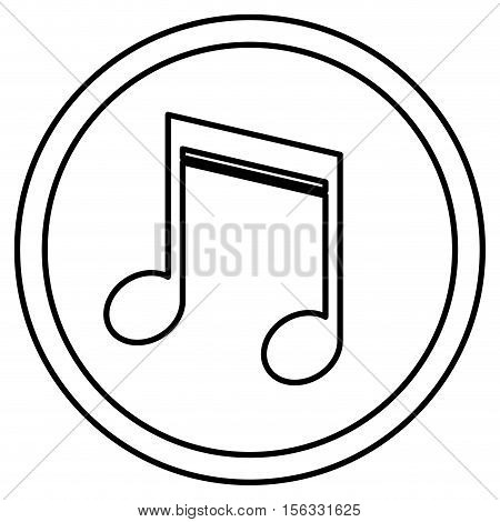 Music note inside button micon. Sound melody pentagram and musical theme. Isolated design. Vector illustration