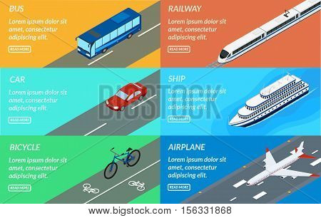 Vector illustration. Set of web banners of public passenger transport. Bus car bicycle ship train plane. Design for tourism rental sale of tickets.