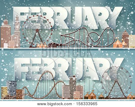 February month, winter cityscape.City silhouettes.Town skyline. Panorama. Midtown houses.