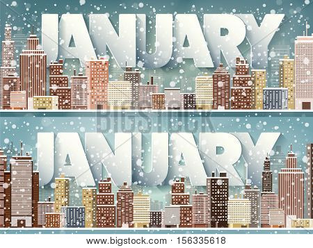 January month, winter cityscape.City silhouettes.Town skyline. Panorama. Midtown houses.