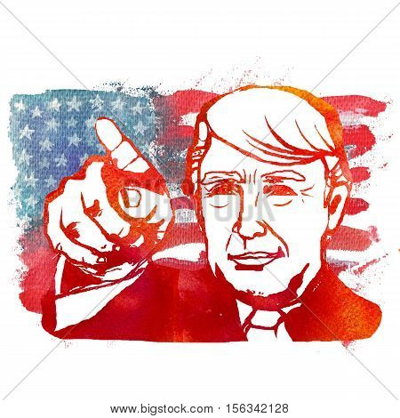 Watercolor Illustration showing Republican Donald Trump the backdrop of the American flag. 45-th president of America. Isolated background.