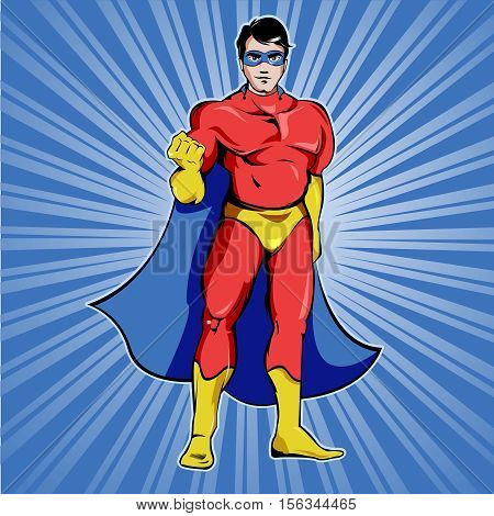 Superman in blue mask and red costume with cloak showing fist on rays stream background vector illustration