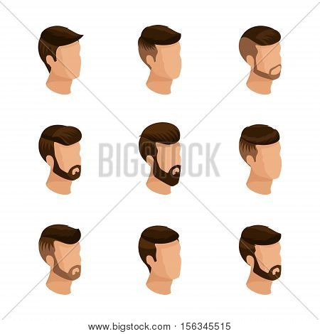 Popular isometrics men's hairstyles hipster style. Laying beard mustache. Modern stylish hairstyle young people fashion business isolated. Vector illustration.