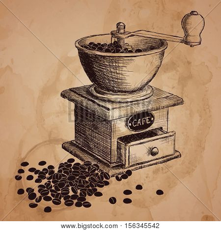 Coffee mill. Hand drawn illustration. Color can be changed in one click