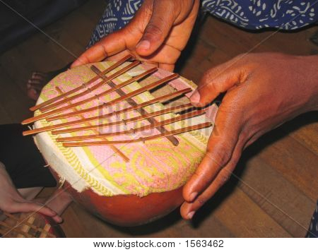 African Musical Instrument With The Musician Hands, Cameroon, Africa