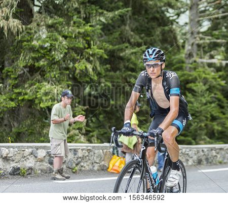 Col du Tourmalet France - July 242014: The British cyclist Danny Pate of Team Sky climbing the difficult road to Col du Tourmalet in Pyrenees Mountains during the stage 18 of Le Tour de France 2014.