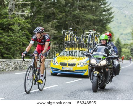 Col du Tourmalet France - July 242014: The German cyclist Marcus Burghardt of BMC Racing Team climbing the difficult road to Col du Tourmalet in Pyrenees Mountains during the stage 18 of Le Tour de France 2014.