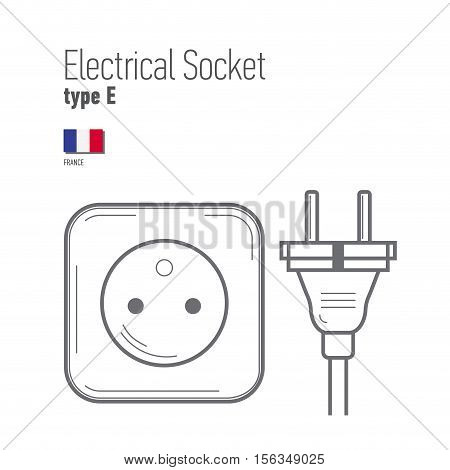 Switches and sockets set. Type E. AC power sockets realistic illustration. Different type power socket set vector isolated icon illustration for different country plugs.