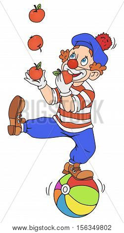 Funny clown juggling with apples on a ball