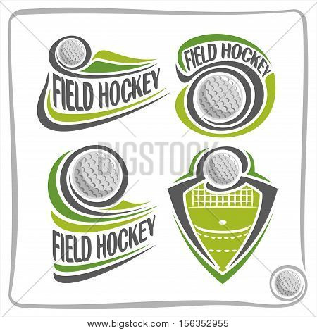 Vector abstract logo Field Hockey Ball, decoration sign sports club, simple line contour ball flying above green grass in goal, isolated sporting equipment icon.