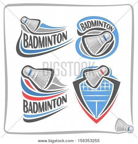 Vector abstract logo Badminton Shuttlecock, decoration sign sports club, simple line shuttlecock flying above net in goal, isolated sporting games icon on white, flat design school blazon