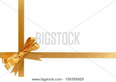 Gold Gift Ribbon Bow Horizontal Bottom Corner Cross Shape Isolated On White.