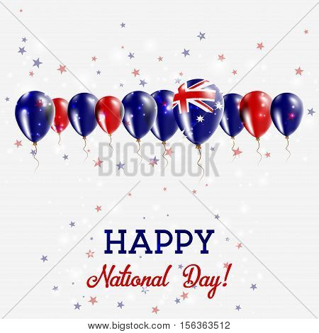 Australia Independence Day Sparkling Patriotic Poster. Happy Independence Day Card With Australia Fl