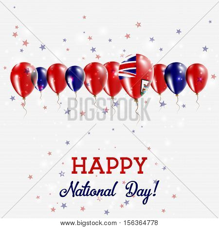 Bermuda Independence Day Sparkling Patriotic Poster. Happy Independence Day Card With Bermuda Flags,