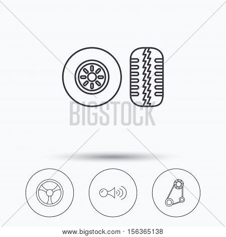 Klaxon signal, tire tread and steering wheel icons. Generator belt linear sign. Linear icons in circle buttons. Flat web symbols. Vector