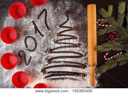 Christmas And New Year Holiday Background With Molds And Text 2017