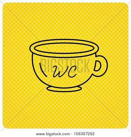 Baby wc pot icon. Child toilet sign. Washroom or lavatory symbol. Linear icon on orange background. Vector